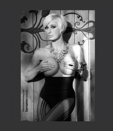 Autographed Print MC Bourbonnais - Limited Edition - Topless Black and White 02